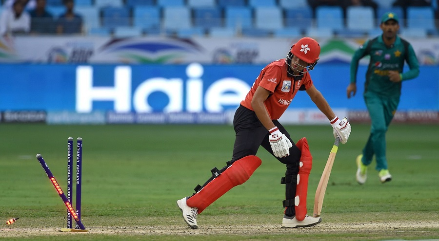 Aizaz Khan tried to stabilised the innings before being bowled by Usman Khan for 27. PHOTO: AFP