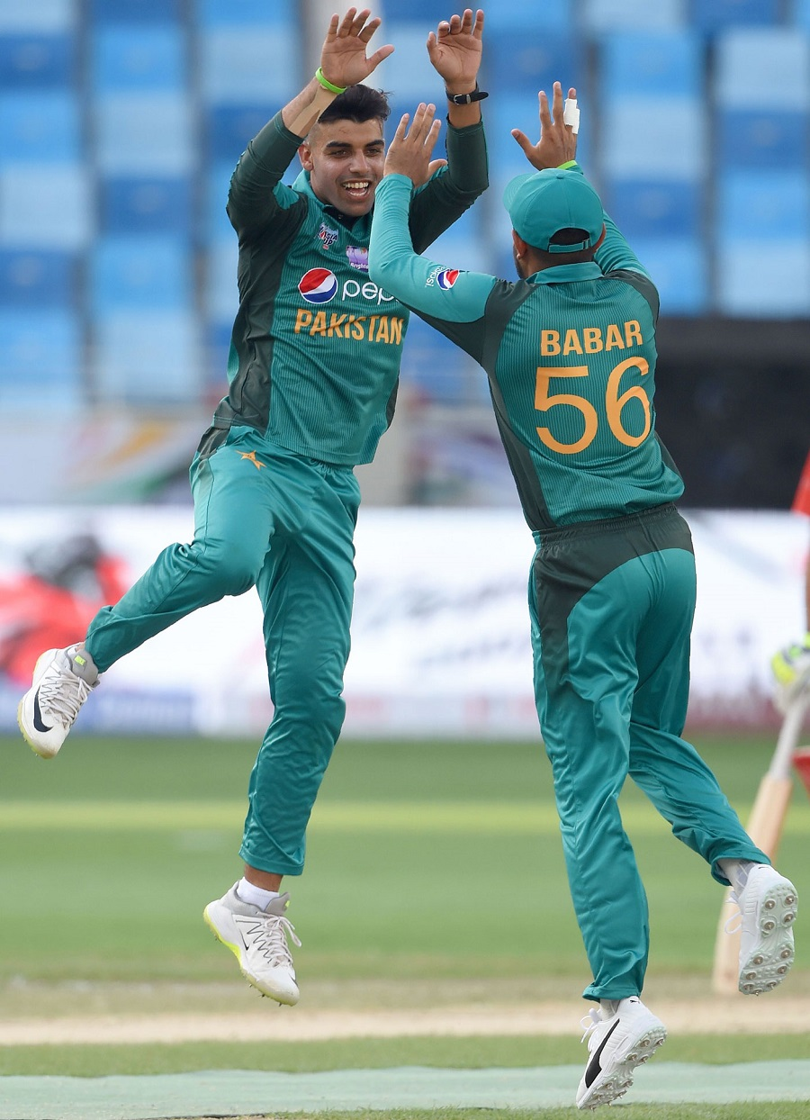 Shadab inflicted more damage, this time with a double-wicket maiden to reduce Hong Kong to 44 for 5. PHOTO: AFP