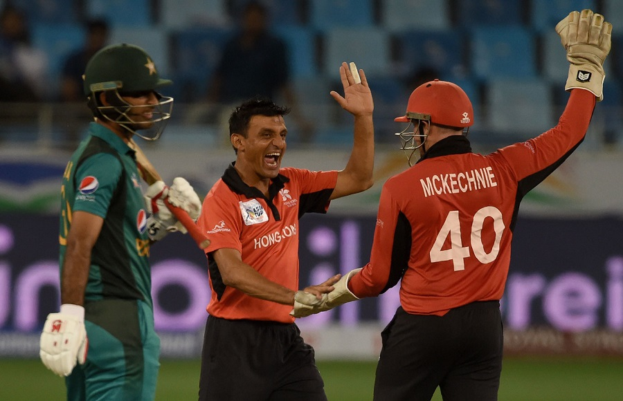 Ehsan Khan gave Hong Kong something to cheer about when he dismissed Fakhar. PHOTO: AFP