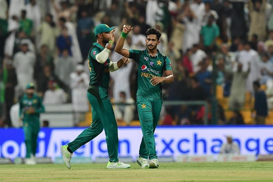 Hasan Ali (R) celebrates after he dismissed Afghanistan batsman Najibullah Zadran. PHOTO: AFP