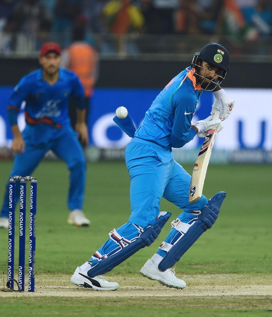 Indian batsman Lokesh Rahul plays a shot. PHOTO: AFP