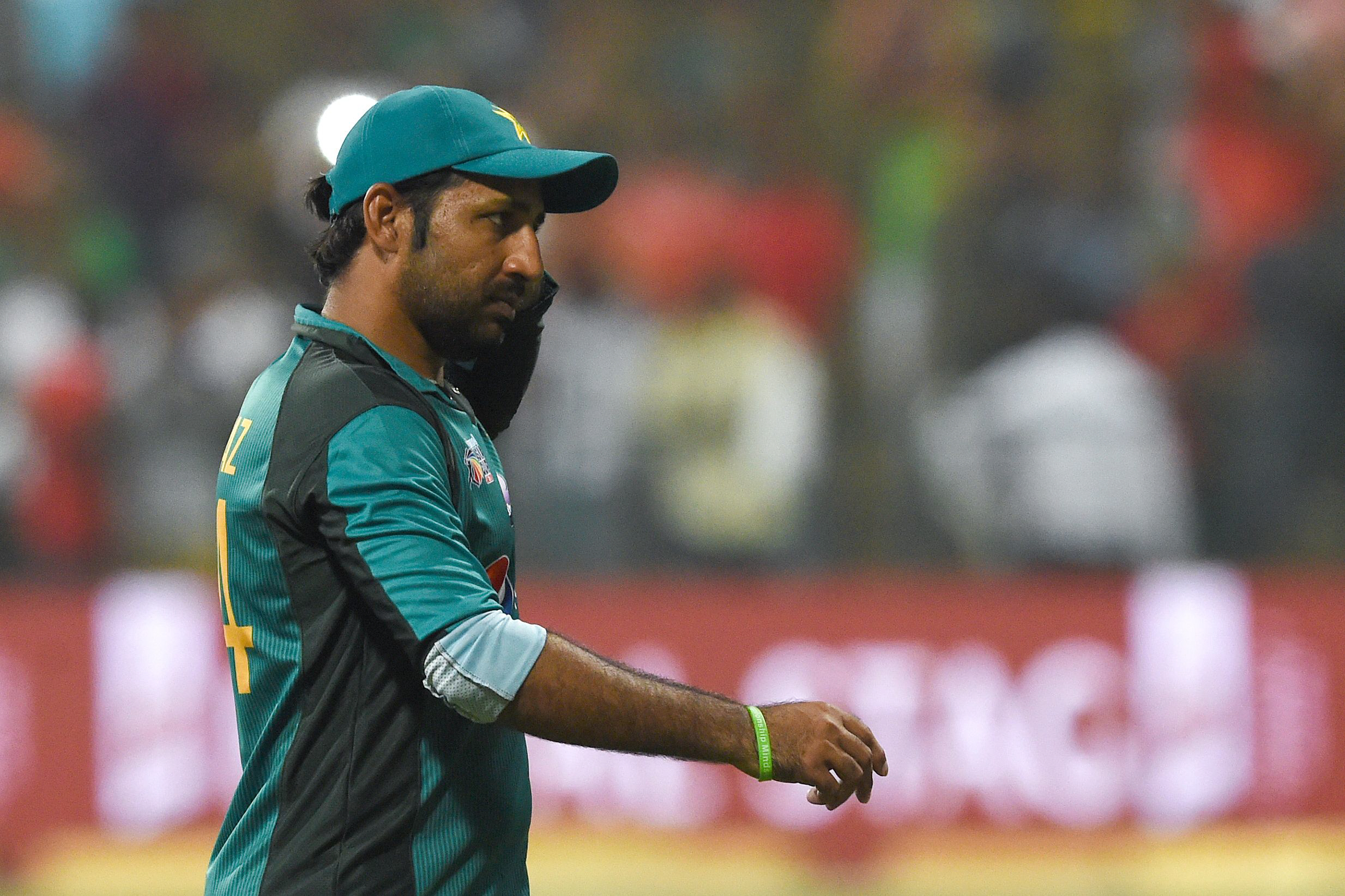 Pakistan captain Sarfraz Ahmed looks on after Bangladesh won by 37 runs during the one day international (ODI) Asia Cup cricket match between Bangladesh and Pakistan at the Sheikh Zayed Stadium in Abu Dhabi