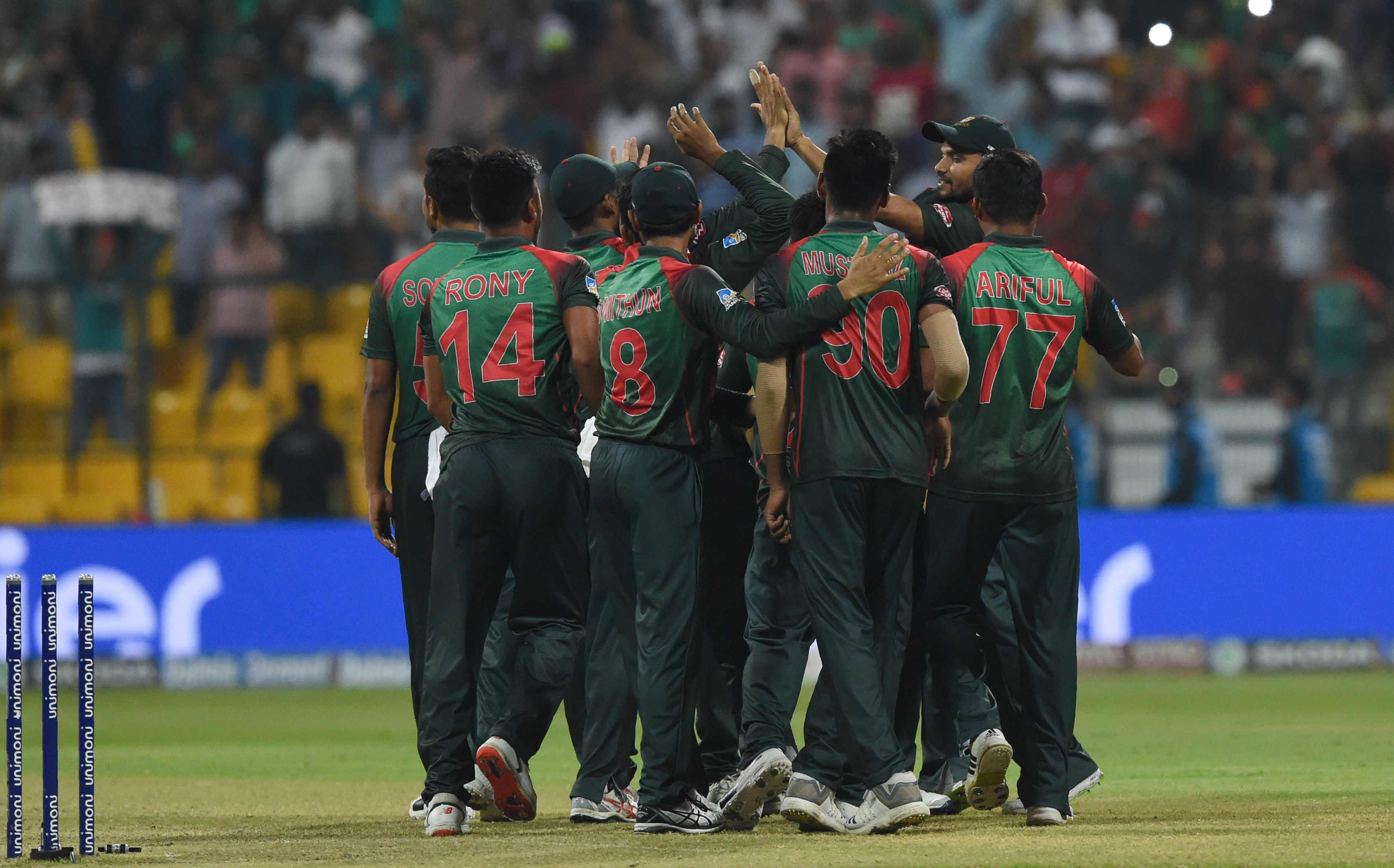 Bangladesh cricketer team celebrates after Bangladesh won by 37 runs during the one day international (ODI) Asia Cup cricket match between Bangladesh and Pakistan at the Sheikh Zayed Stadium in Abu Dhabi