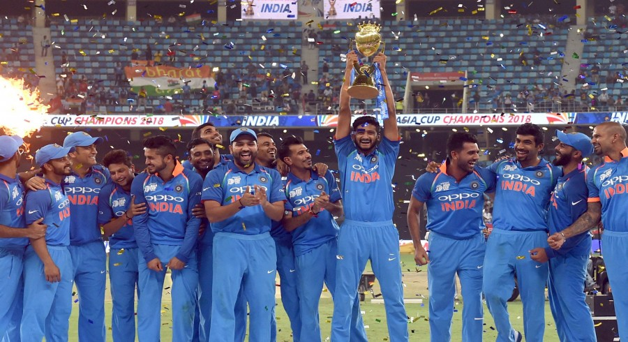 Indian Cricket team celebrates after won during the final one day international (ODI) Asia Cup cricket match between Bangladesh and India at the Dubai International Cricket Stadium in Dubai