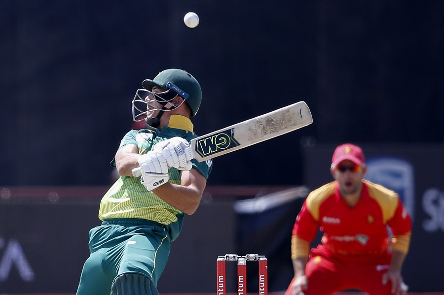 South Africa's Aiden Markram tries to avoid a bouncer. PHOTO: AFP