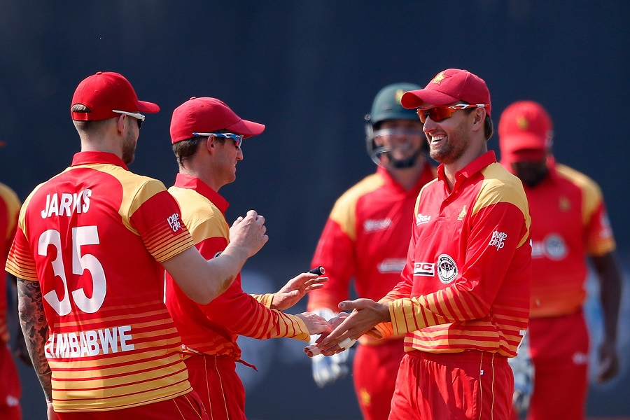 Zimbabwe's players celebrate after Craig Ervine and Wellington Masakadza dismissed South Africa's batsman Heinrich Klaasen. PHOTO: AFP