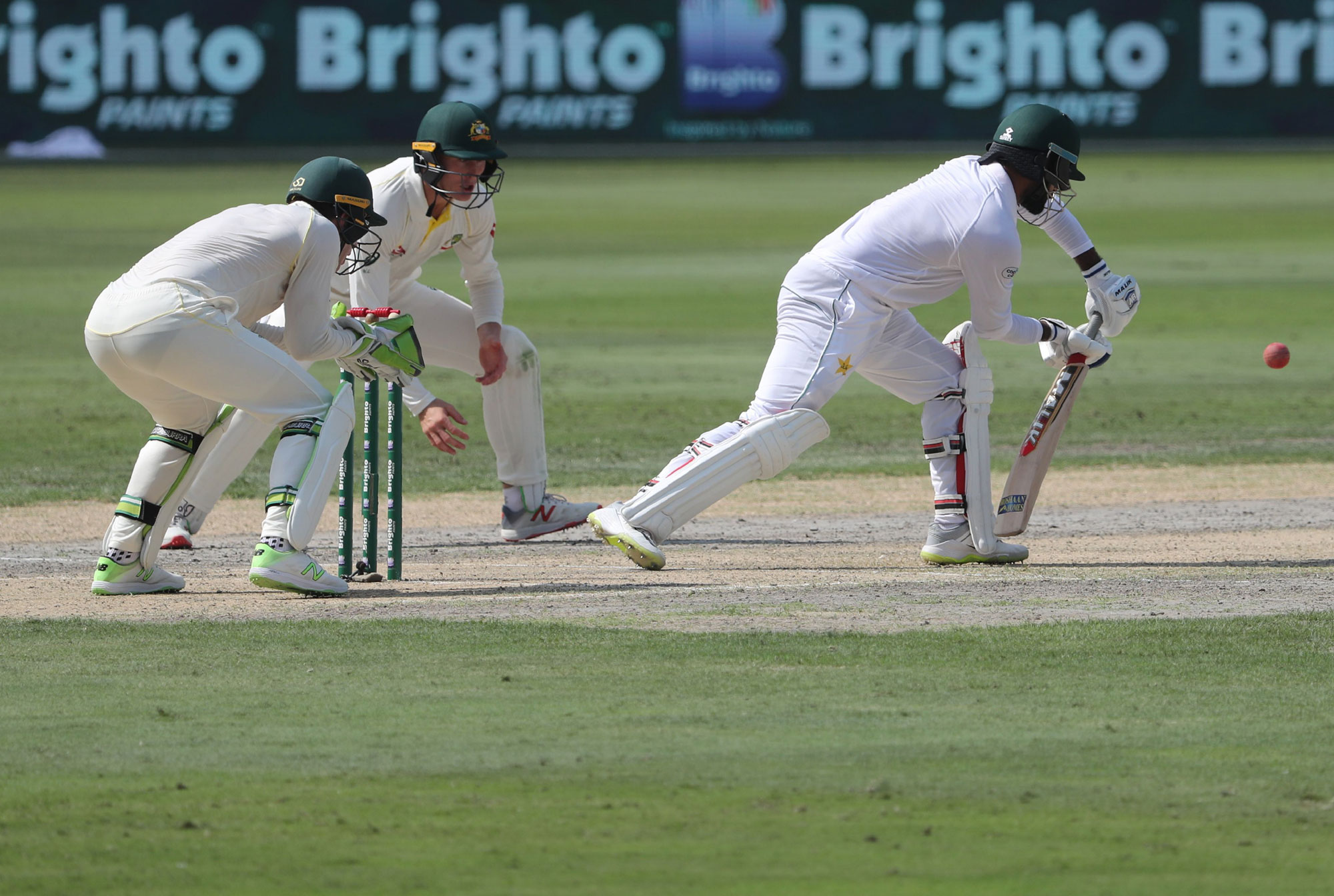 1.	Pakistan cricketer Imam Ul Haq (R) bats on day one of the 1st test cricket match between Australia and Pakistan at the Dubai International Cricket Stadium in Dubai on October 7, 2018. - Pakistan openers Mohammad Hafeez and Imam-ul-Haq put on a solid un