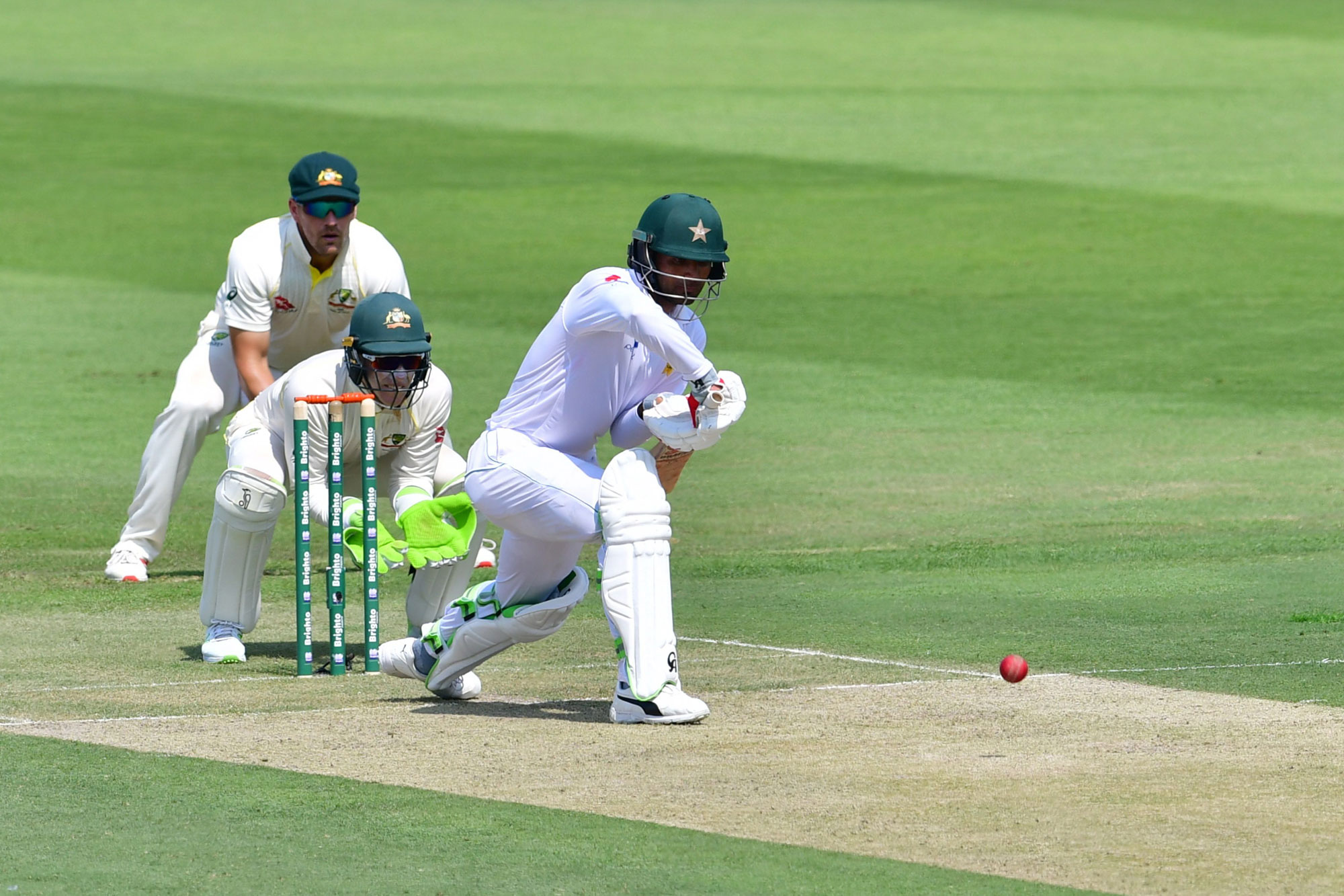 Pakistan cricketer Fakhar Zaman plays a shot during day one of the second Test cricket match in the series between Australia and Pakistan at the Abu Dhabi Cricket Stadium in Abu Dhabi on October 16, 2018. (Photo by GIUSEPPE CACACE / AFP)