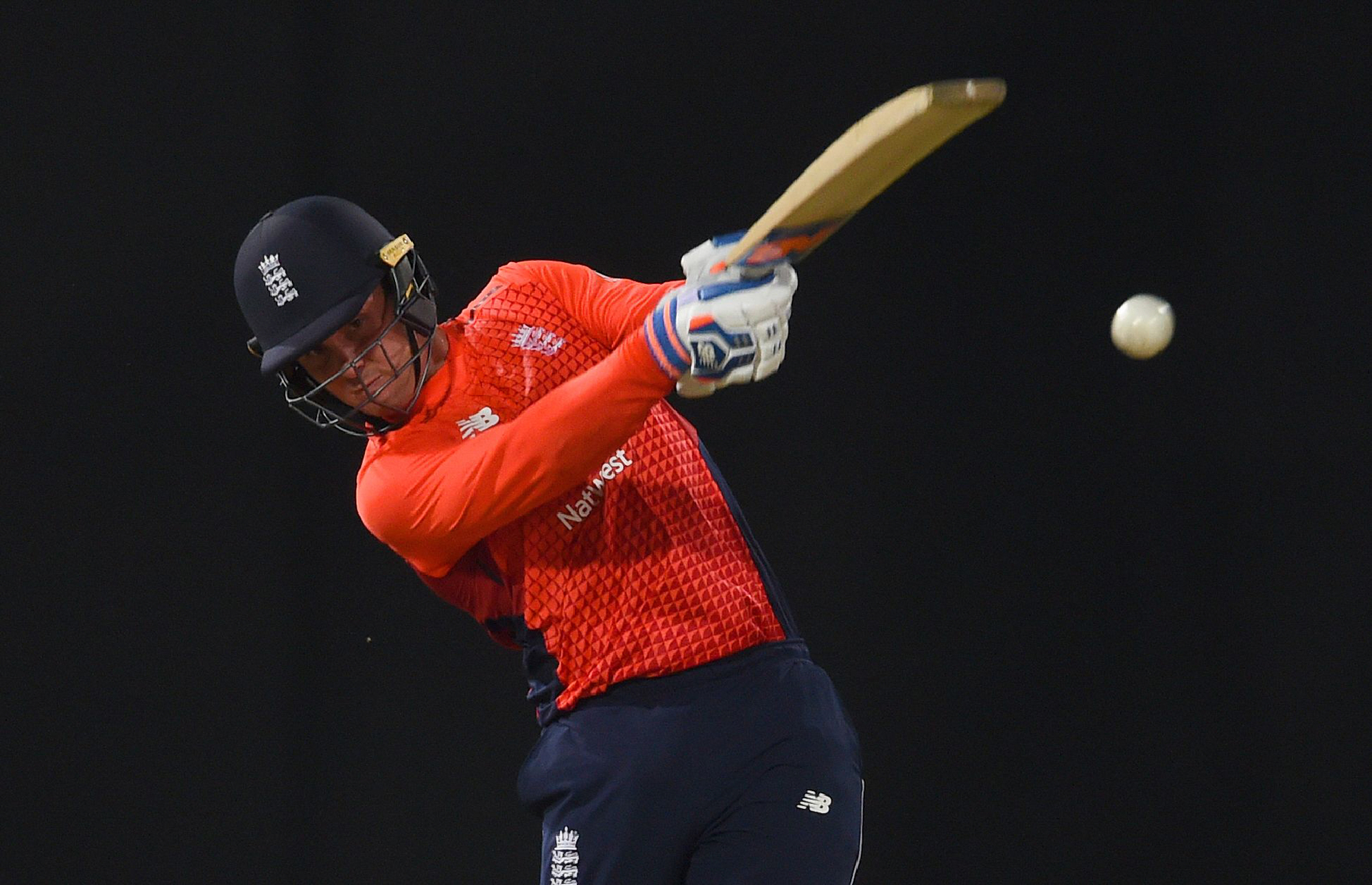 England cricketer Jason Roy plays a shot during the international Twenty20 cricket match between Sri Lanka and England at the R. Peremadasa Stadium in Colombo on October 27, 2018. (Photo by ISHARA S. KODIKARA / AFP)