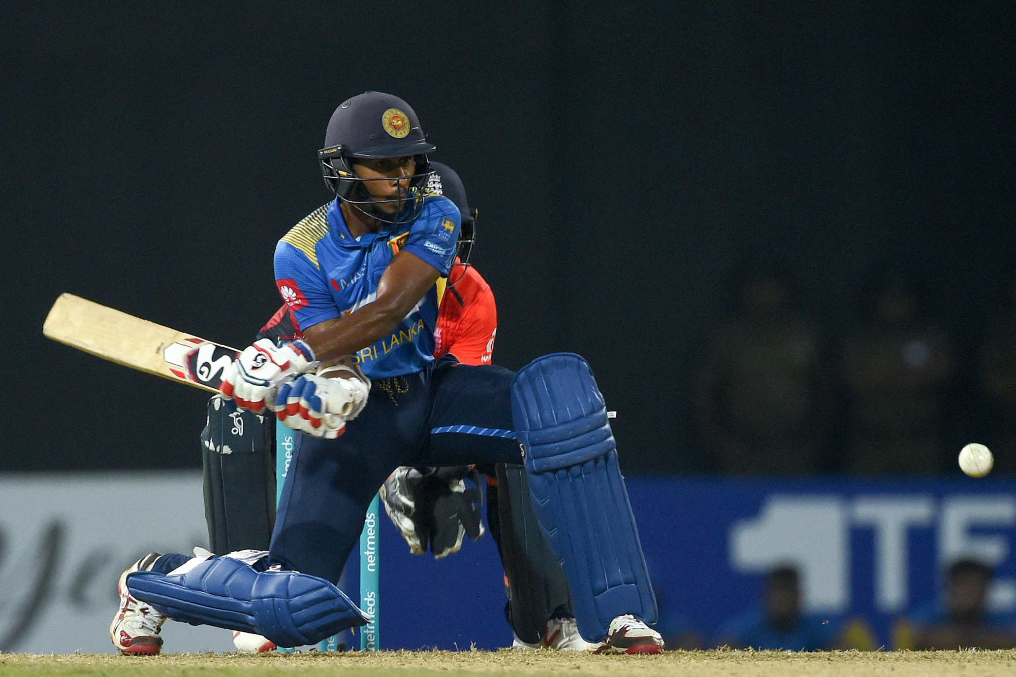 Sri Lankan cricketer Kamindu Mendis plays a shot during the International Twenty20 cricket match between Sri Lanka and England at the R Peremadasa Stadium in Colombo on October 27, 2018. (Photo by ISHARA S. KODIKARA / AFP)