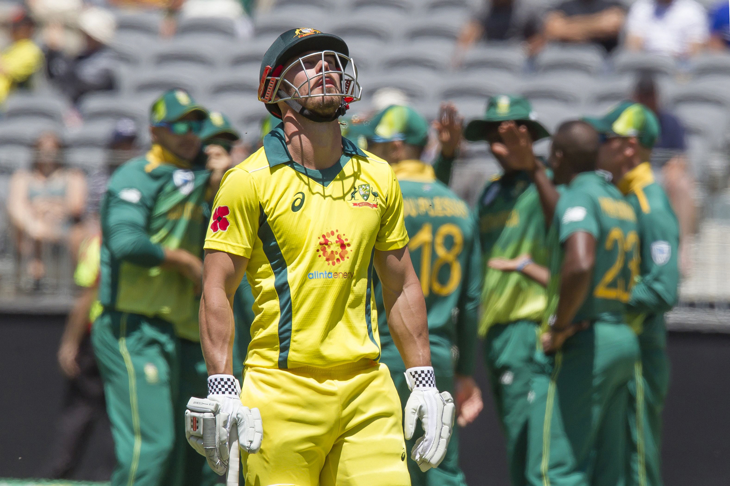 Australia's Chris Lynn (C) walks off after being dismissed during the first one-day international (ODI) cricket match between South Africa and Australia at the Optus Stadium in Perth on November 4, 2018. (Photo by TONY ASHBY / AFP) / -- IMAGE RESTRICTED T
