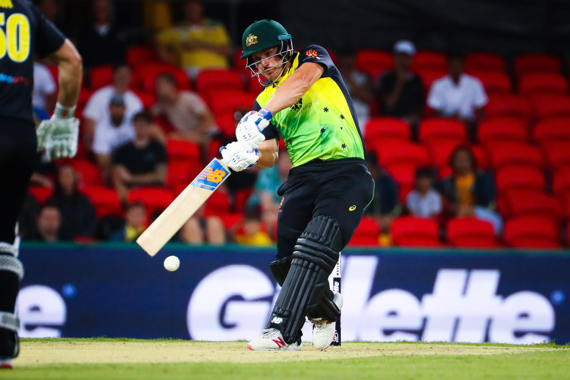 Aaron Finch of Australia plays a shot during the T20 international cricket match between Australia and South Africa at Metricon Stadium on the Gold Coast on November 17, 2018. (Photo by Patrick HAMILTON / AFP) / -- IMAGE RESTRICTED TO EDITORIAL USE - STRI
