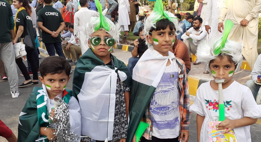 Kids dressed in Pakistan colours