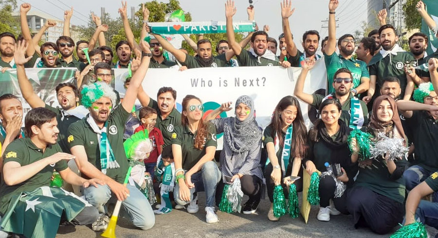 Pakistan fans gather outside the stadium