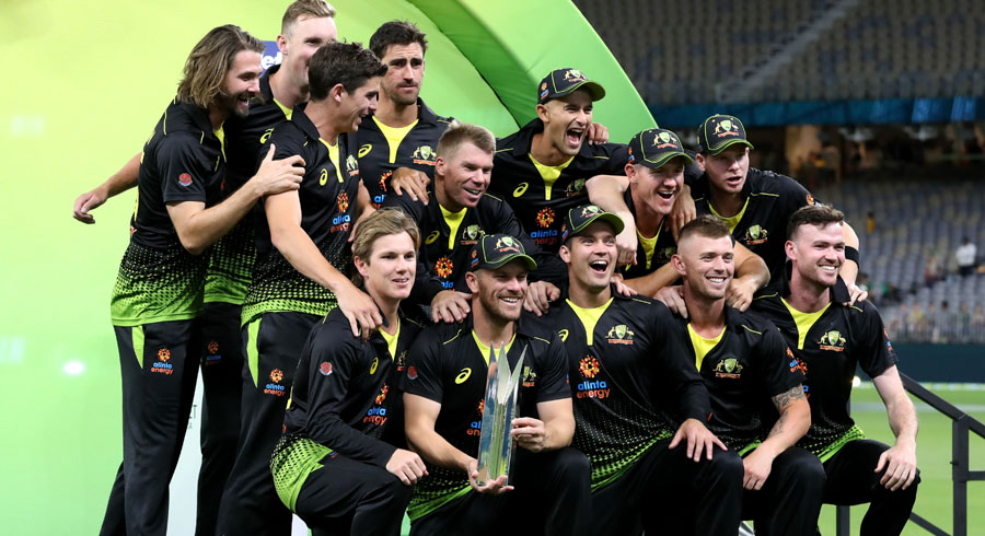 Australia players celebrate their series victory