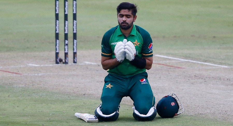 Babar reacts after his century helps Pakistan beat South Africa in first ODI